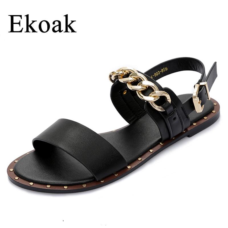 Ekoak New 2018 Fashion Leather Sandals women Summer Ladies Dress shoes woman with Metal Chain Beach Shoes Flat Sandals