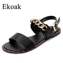 Ekoak Новый 2017 Моды Кожаные Сандалии женские Летние Дамы Платье обувь женщина с Металлической Цепью Пляжная Обувь Плоские Сандалии