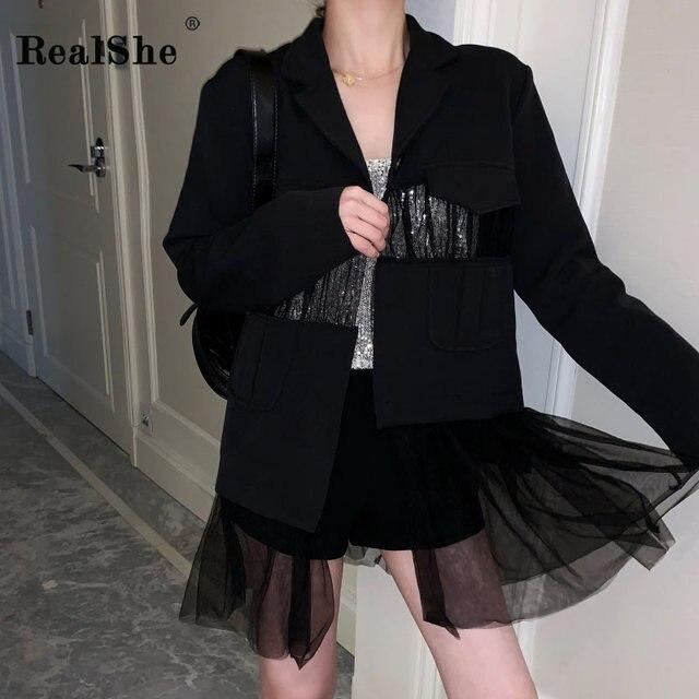 RealShe 2019 Spring Casual Black Blazer Women Notched Collar Long Sleeve Mesh Patchwork Office Lady Blazer Feminino Suits
