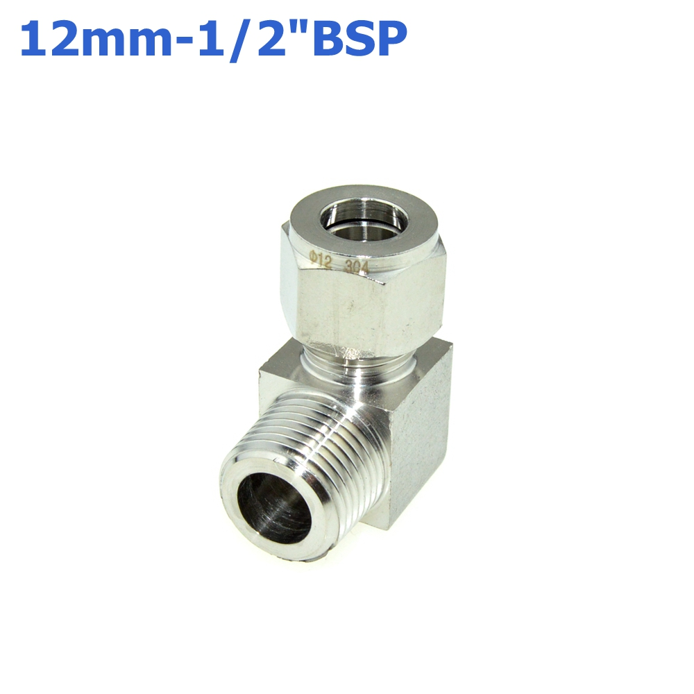 2Pcs 1/2 BSPT Male Thread x 12MM Double Ferrule Tube Compression Elbow Fitting Male Thread Connector PT Stainless Steel 304 new 1 4 npt to 6mm compression male elbow double ferrule stainless steel 304 fittings