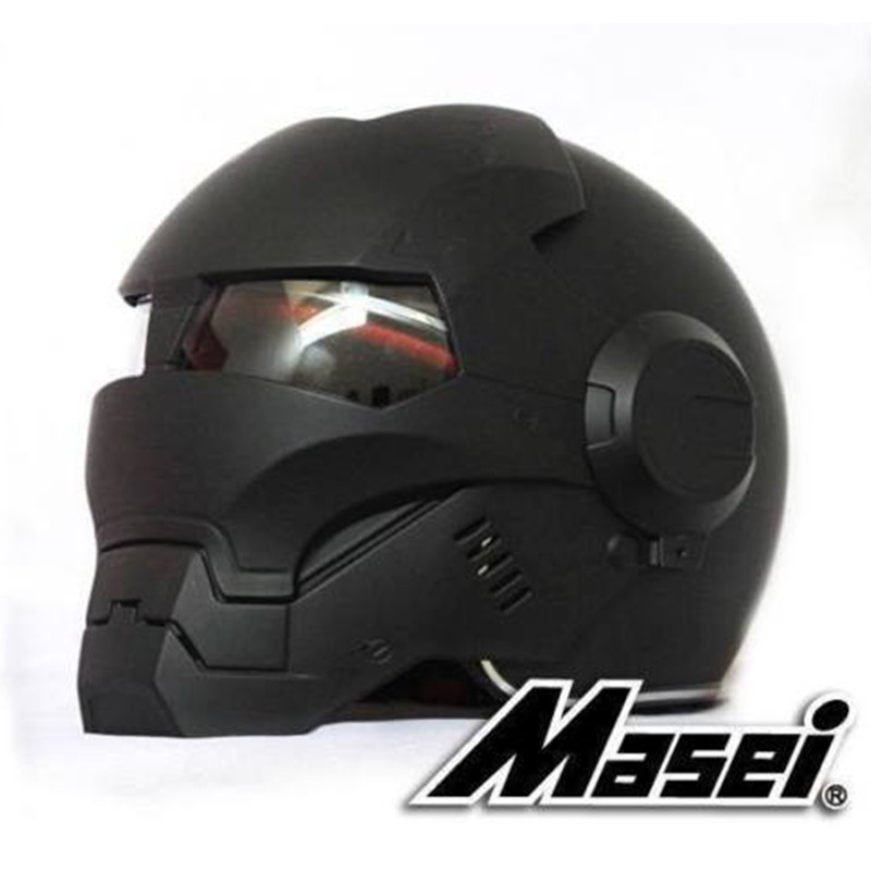 Masei Black Helmet DH Downhill Motorcycle Cross-Dot Iron-Man Riding Matt Off-Road Full-Face title=