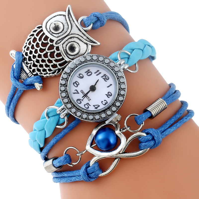 Gnova Platinum Multilayer Paracord Bracelet Watch Women OWL Charm Blue Heart Vintage Fashion Rhinestone Wristwatch Quartz A898 new uni t ut302b 32 550 c 20 1 infrared thermometer