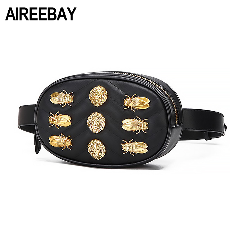 AIREEBAY Leather Waist Bag Women Rivets Fanny Pack bags 2018 Brand New Waist Pack For Women Black Red Chest belt handbag belt bag women waist bag white waist fanny pack luxury brand leather chest handbag lady s belt bags 2018 shoulder bags purse