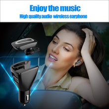 2 in 1 multi funtional Dual USB car charger with bluetooth wireless earphone , wireless earbud car charger 3 in 1 multi functional car charger with wireless hands free bluetooth earbud earphone headset air purifier oxygen smart phone
