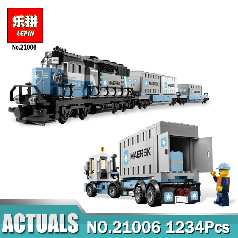 Lepin 21006 city series The Maersk Train Model Building Blocks set Compatible legoing 10219 Train Toys for children new lepin 16009 1151pcs queen anne s revenge pirates of the caribbean building blocks set compatible legoed with 4195 children