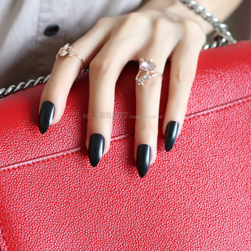 Black Full Nail Tips Comfortable Artificial nails Pointed Stiletto 24pcs mountain  peak Designs Pure colour False nails JD24-in False Nails from Beauty ... - Black Full Nail Tips Comfortable Artificial Nails Pointed Stiletto