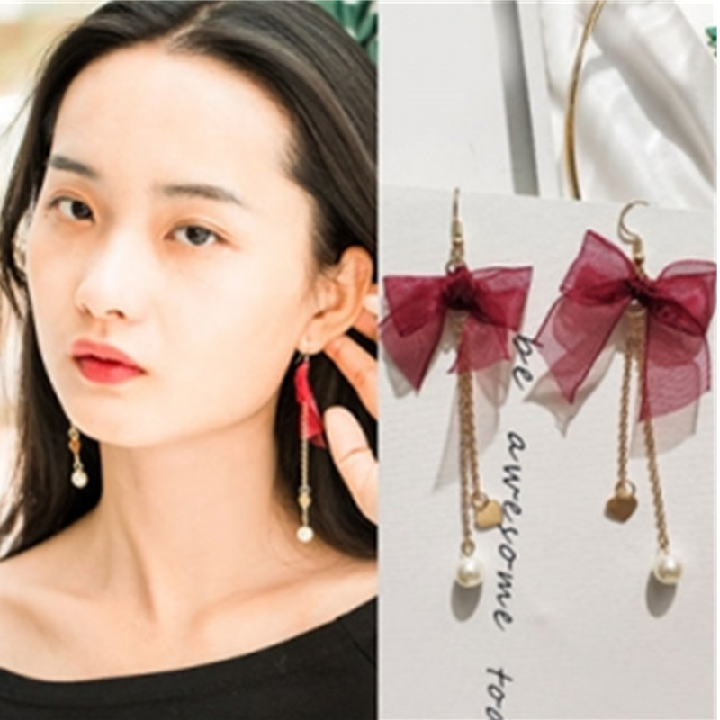 Bow Earrings Jewelry Lace Pearl-Tassel Ladies New-Fashion Wild Red