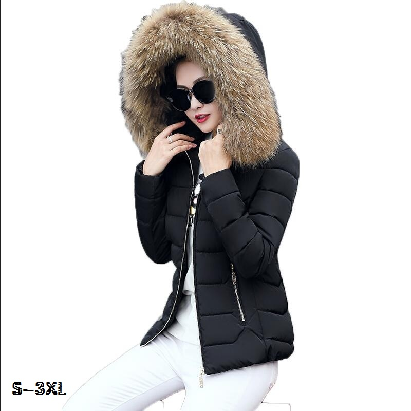 Fake fur collar down parka Cotton female jacket 2017 winter coat For women thick Ski Lady for