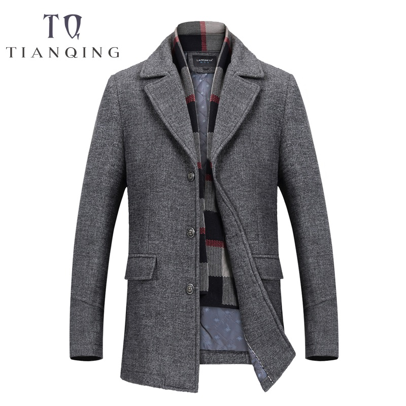 TIAN QIONG Autumn & Winter Single Breasted Woolen Coats 50% Off Men' s Wool Jackets Turn-down Collar Wool & Blends Overcoat