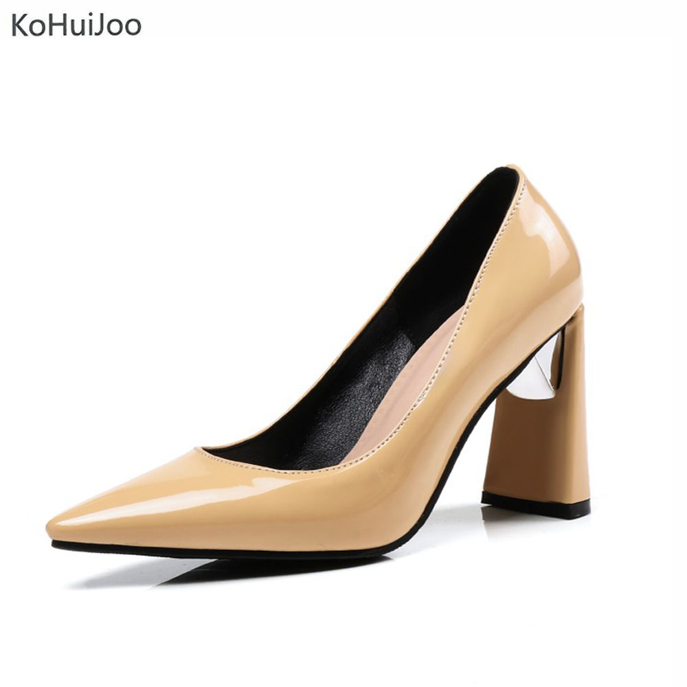 KoHuJoo 2018 Spring Summer Women Patent Leather High Heels Solid Elegant Office Lady Pointed Toe Dress Pumps Party Wedding Shoes