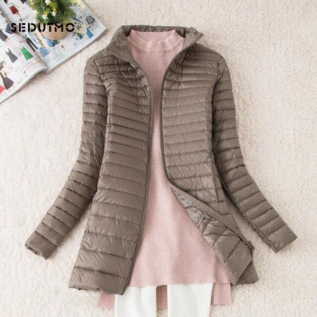SEDUTMO Winter Long Women Down Jackets Ultra Light Duck Down Coat Thin Slim Black Puffer Jacket ED341 4
