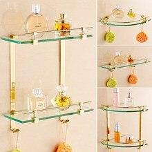 Estante de pared de esquina de latón dorado montado Set de accesorios de baño espejo suave esquinero estante de baño de vidrio toallero soporte de pared