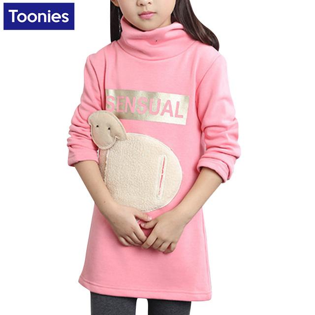Vestido de invierno Vestido Largo de la Camiseta Para Los Niños En El Invierno moda Elegante Coreano Del Estilo Fresco Y Especial Para La Muchacha Encantadora caliente