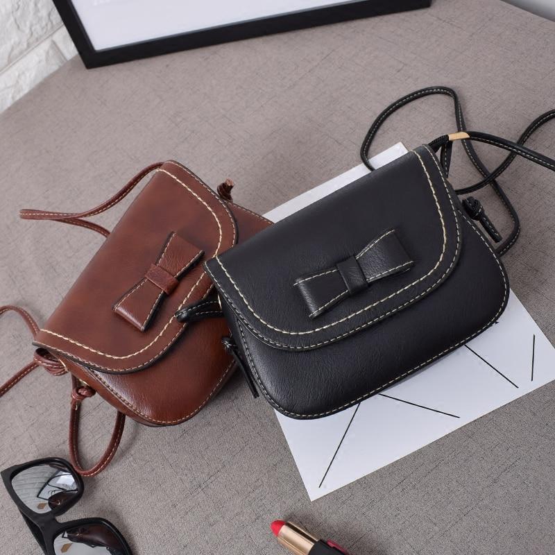 Casual Small Women Messenger Bag Bow Mini Leather Handbag Girls Crossbody Bags Women Famous Brand Designers Shoulder Bag Purse