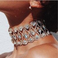 2017 Luxury Rhinestone Choker Chunky Necklace Crystal Statement Necklace Women Party Choker Chocker Fashion Wedding Jewelry