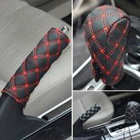 hand brake shift Hot Best 2Pcs/Set Faux Leather Hand Brake Shift Knob Cover Gear Case Car Interior Decor (3)
