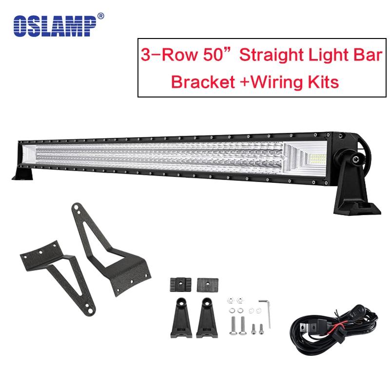 Oslamp Tri-rangée 50 ''barre de lumière LED Offroad Combo faisceau LED barre de lumière de travail pour Ford F-250/F-350/F-450 Super Duty 1999-2015