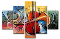 100% Hand painted Fiddle music speaker Abstract landscape Wall home Decor Oil Painting on canvas 5pcs/set mixorde Framed