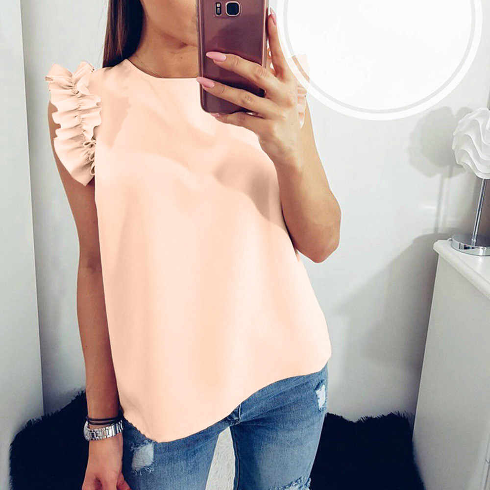 feitong Summer fashion women's 2018 new solid color stitching round collar blouse casual shirts ruffled sleeves chiffon tops #