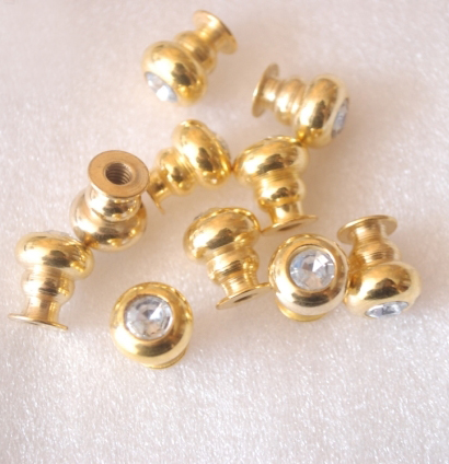 Small Gold Color Diamond Knobs Drawer Pulls 11x13mm