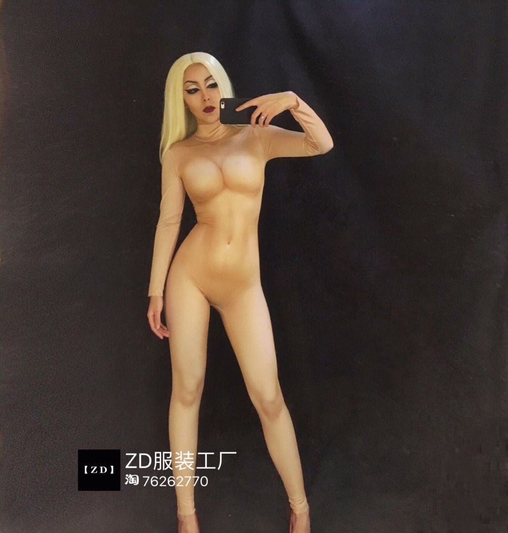 Women New Nude Skinny Bodysuit Sexy Leggings One piece Dance Performance Wear Female Singer Stage Big