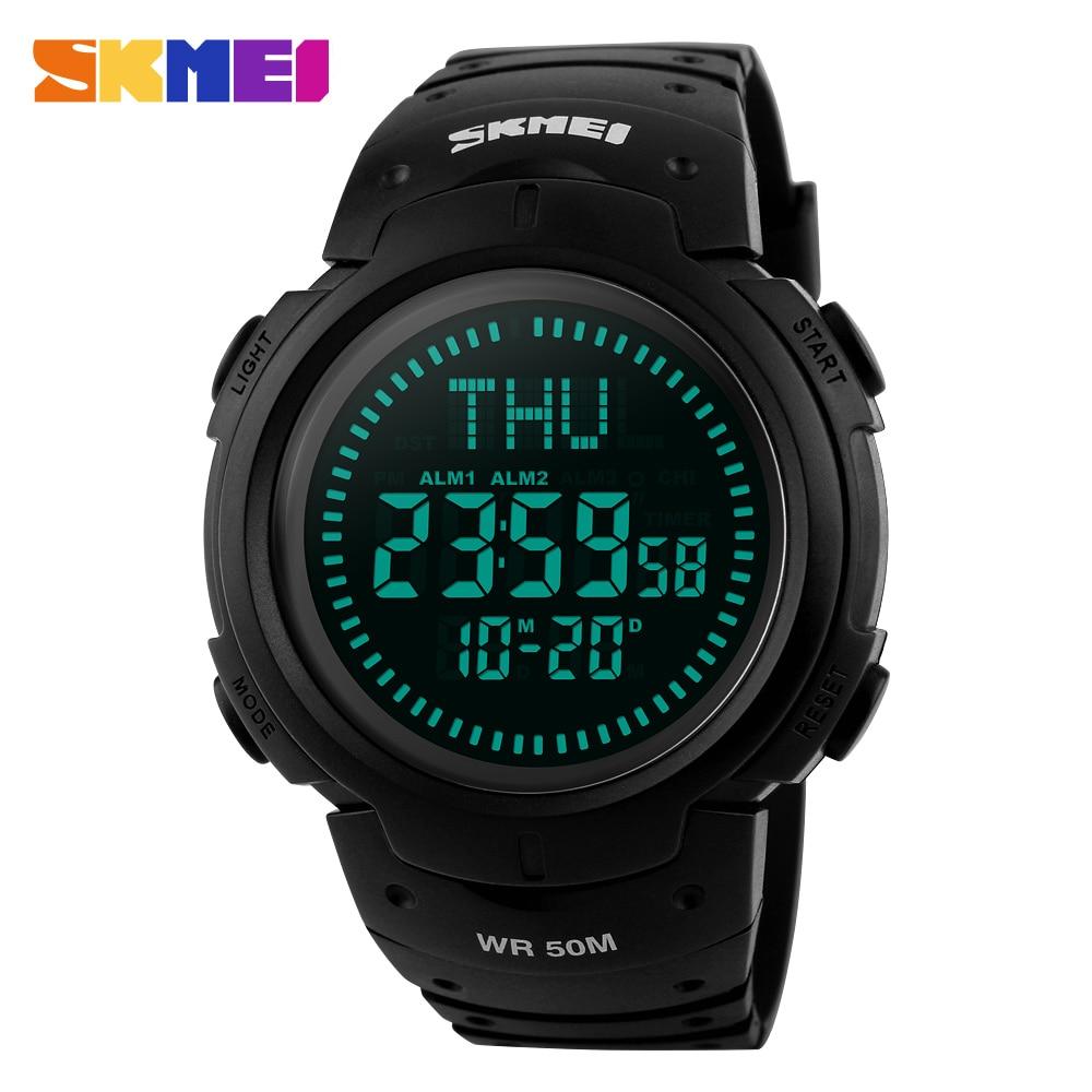 SKMEI 2018 Electronic Watch Man Sports Compass Watches Outdoor Hiking Men Watch Digital LED Men's Watches Chronograph Clock 1231