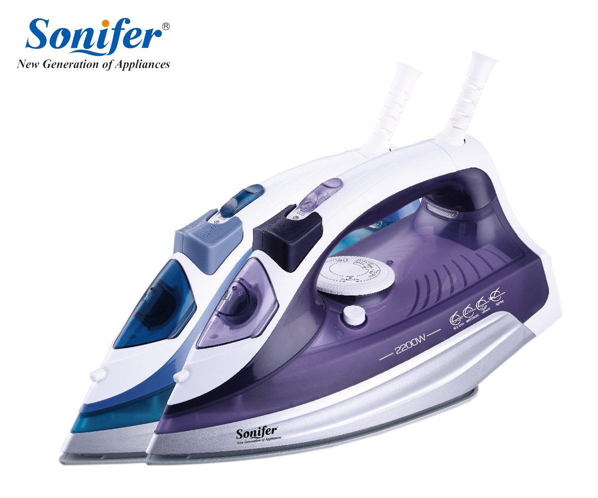 2200W Colorful Portable Electric Steam Iron For Clothes 220V Three Gears Ceramicsoleplate Sonifer 220v 600w 1 2l portable multi cooker mini electric hot pot stainless steel inner electric cooker with steam lattice for students