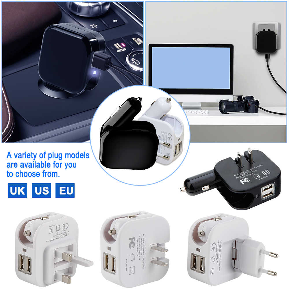 2 in1 USB Car Charger โทรศัพท์มือถือแท็บเล็ต Fast Car Charger สำหรับ iphone X XS Dual USB รถอะแดปเตอร์ซ็อกเก็ต 2019