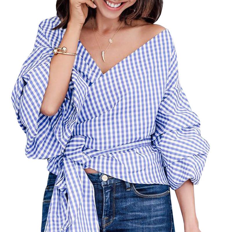 HTB1JznfPFXXXXXTXVXXq6xXFXXXM - V-Neck Lantern Sleeve Blue Women Blouses Shirts JKP160