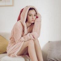 Women Polyester Winter Knee Length Solid Robe 2018 Warm Sleepwear Robe Terry Bathrobe Female Fleece Pink Long Nightgown One Size