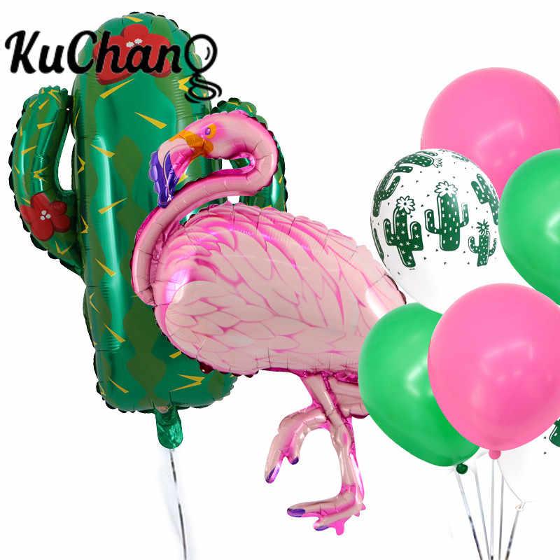 Fiesta hawaiana decoración piña Cactus hoja Tropical globos de látex perla globo de helio Baby Shower Feliz cumpleaños boda