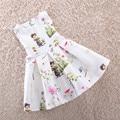 Розничная 2016 новые одежда для девочек 100% хлопок милые маленькие белые мультфильм платье для девочки платье принцессы