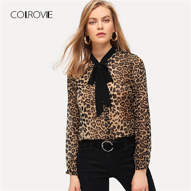 1ee725376faa0 COLROVIE Tie Neck Leopard Print Casual Blouse Women Clothing 2018 Winter  Streetwear Fashion Shirt Office Ladies Tops And Blouses