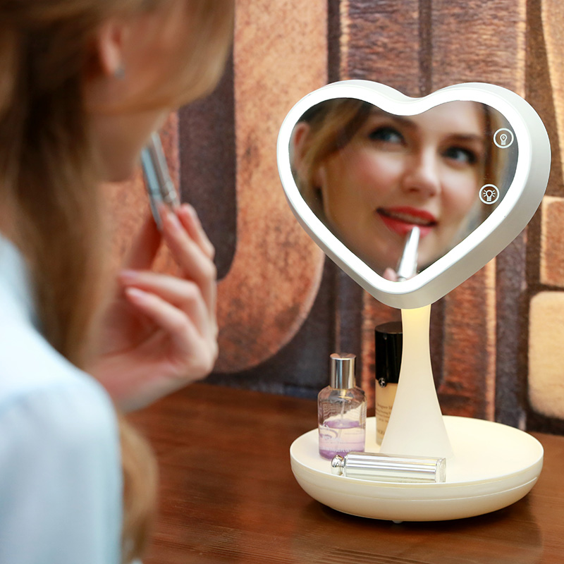 Heart-shape Led Makeup Mirror Desktop Lamp Bride Tabletop Mirrors Bridesmaid Compact Vanity Mirror with Lights Make Up Cosmetic they do it with mirrors