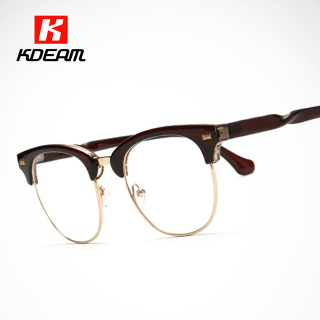 All Year Round Clear Glasses Frame Half Metal Eyeglasses Men Women ...