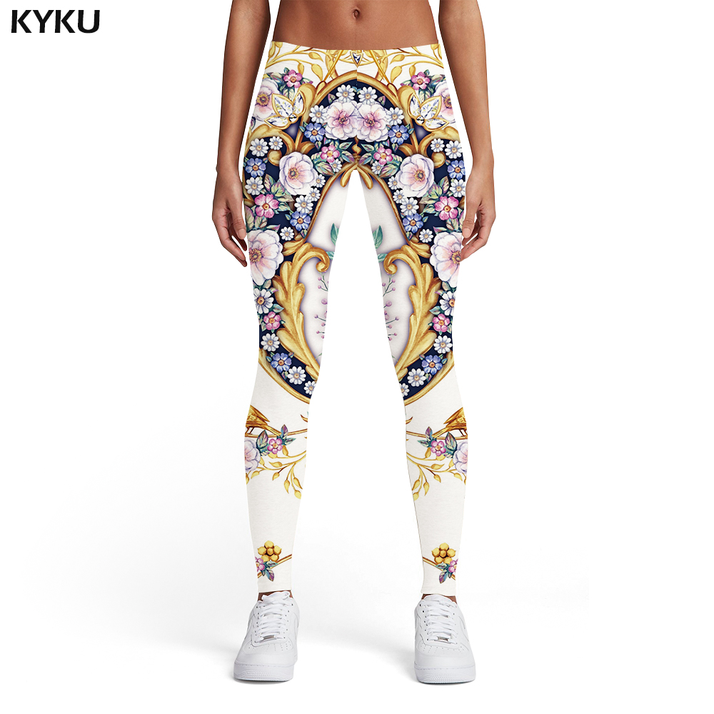 KYKU Flower   Leggings   Women Metal Ladies Colorful Sport Harajuku Spandex Art Sexy Womens   Leggings   Pants Casual Fashion Funky