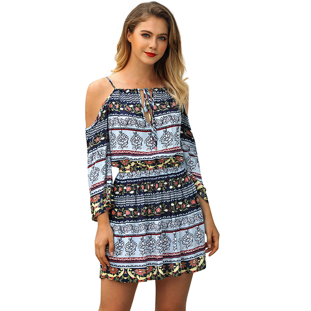 a2760514e5fd Boho Women Dress Floral Print Cold Shoulder Cut Out Tie Bandage Elastic  Waist Tunic Dress Summer Loose Mini Beach Holiday Wear
