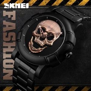 Image 3 - SKMEI Skullนาฬิกาผู้ชายนาฬิกาแบรนด์หรูนาฬิกาควอตซ์กีฬานาฬิกากันน้ำสแตนเลสชายWristatch Reloj Militarนาฬิกา 9178