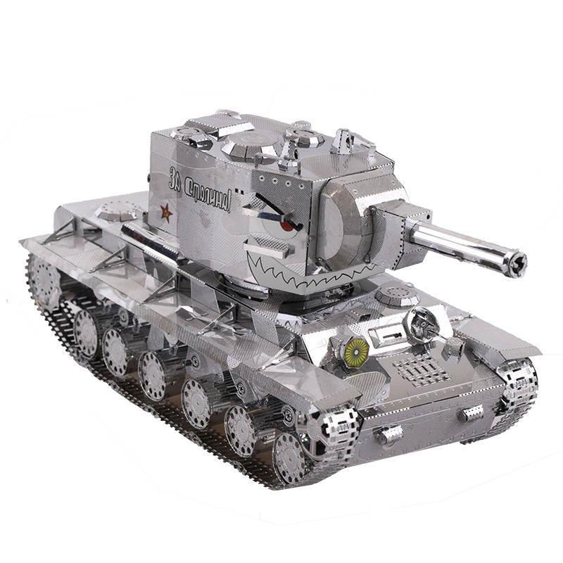 MU 3D Metal Nano Puzzle War 2 Russia KV 2 Tank model DIY 3D Laser Cut Assemble Jigsaw Toys Desktop decoration GIFT For Audit