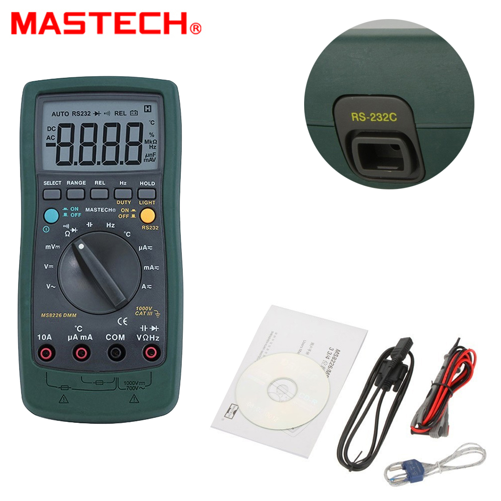 Mastech MS8226 DMM 3 3/4 Digital Multimeter Auto Range Capacitance Resistance Temperature Backlight & PC interface cable ms8226 handheld rs232 auto range lcd digital multimeter dmm capacitance frequency temperature tester meters