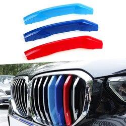 3D parrilla delantera Trim tiras parrilla cubierta decoración pegatinas para BMW X5 G05 2019 7 rejillas наклейки на авто