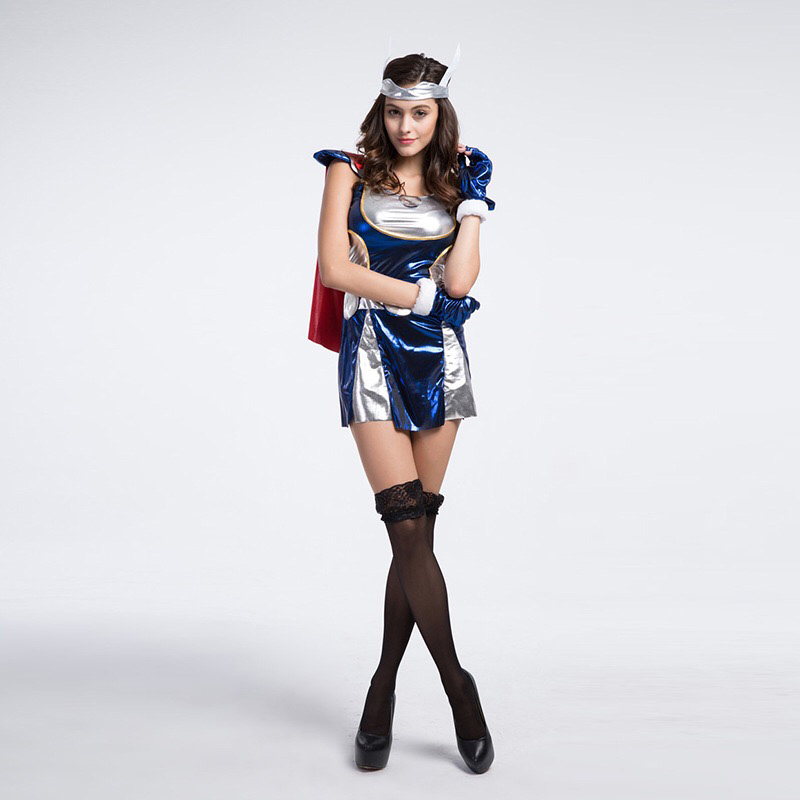 2017 Adult Women Halloween Superman Costume Idea Sexy Super Hero Cosplay Shine Outfit -7079