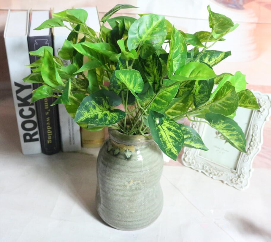 5pcs Artificial Scindapsus Branch Greenery For Wall Background Wedding Party Home Office Bar Decorative