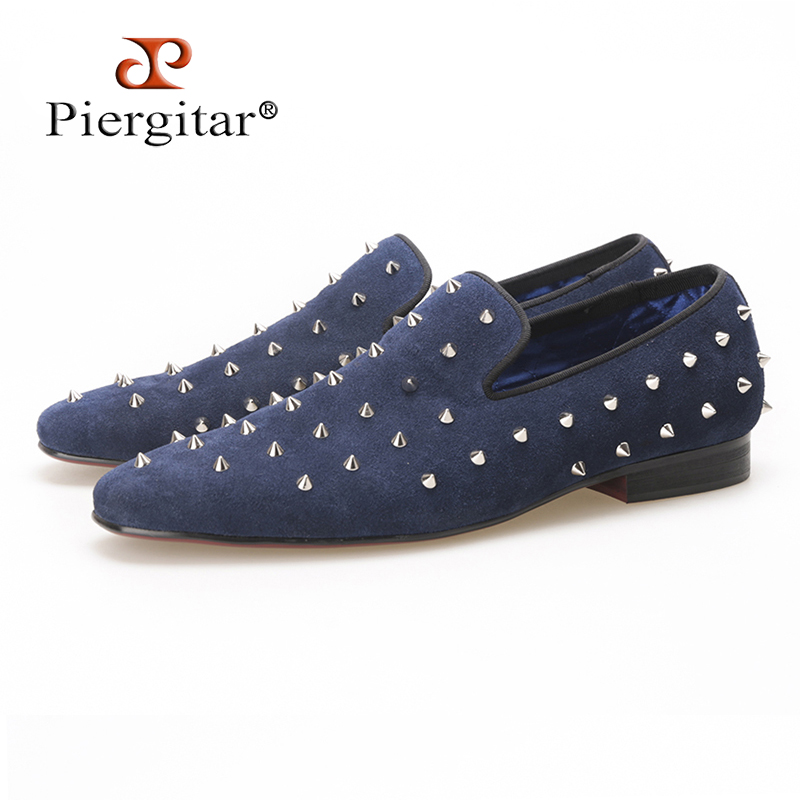 Piergitar new summer style Handmade Navy Suede men shoes with Silver Rivet Fashion smoking slipper Prom and Banquet men loafers pink suede mens shoes newest style fashion men tassel loafers plus size men s smoking shoes summer men party and prom shoes