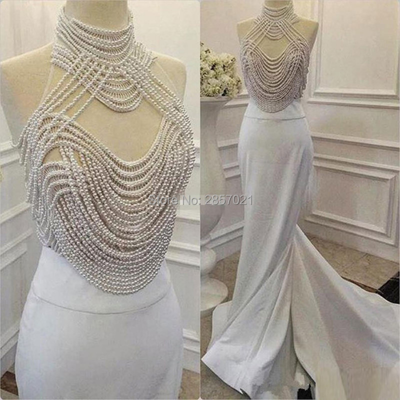 Gorgeous Pearls White Ivory Satin Mermaid   Prom     Dresses   High Neck Sleeveless 2018 Robe De Soiree Custom Made Evening   Dresses   Gown