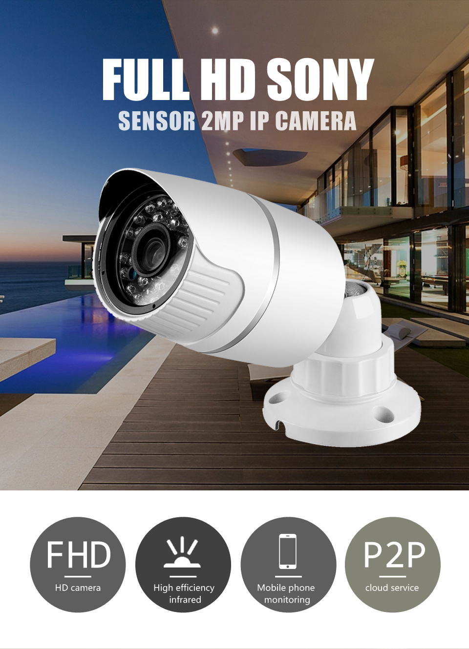 1080P Outdoor Security Camera 2MP Metal Bullet CCTV Camera IP HI3516C+SONY IMX322 25fps ONVIF Camera IP ONVIF wistino cctv camera metal housing outdoor use waterproof bullet casing for ip camera hot sale white color cover case