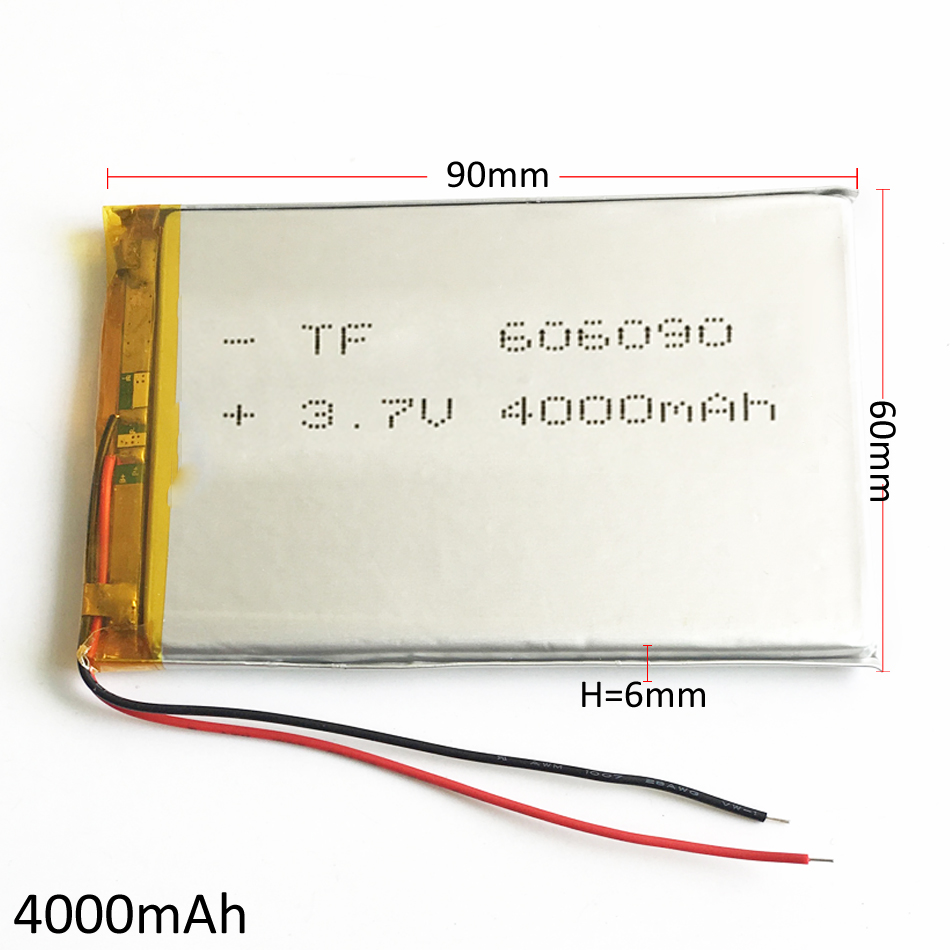 3.7V 4000mAh 606090 Polymer Lithium Li-Po Rechargeable Battery For GPS PSP DVD PAD e-book tablet pc power bank video game image