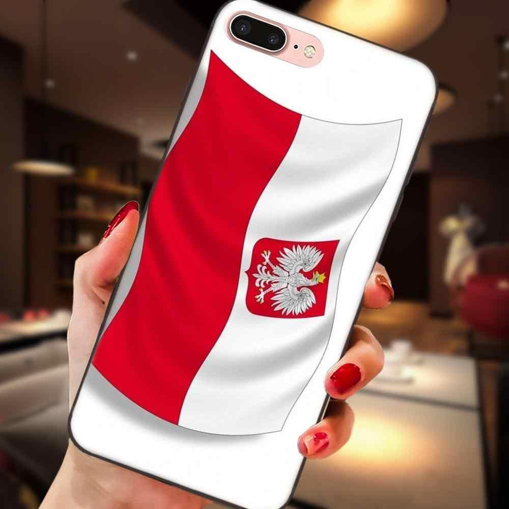 A polónia Polska Bandeira Para Apple iPhone X XS Max XR 4 4S 5 5S SE 6 6 S 7 8 além de Telefone Padrão TPU Silicone Macio Preto