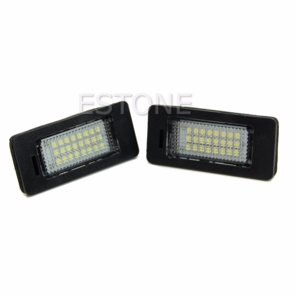 2pcs Error Free 24-LED License Plate Light For BMW E90 M3 E92 E93 E70 E39 F30 E60 White 6000K led light Lamp 2017 2pcs lot 24 smd car led license plate light lamp error free canbus function white 6000k for bmw e39 e60 e61 e70 e82 e90 e92