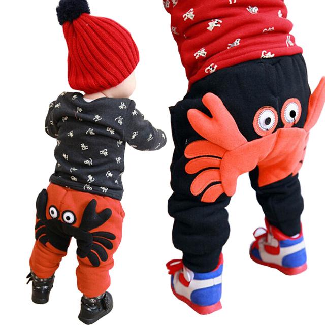 Bebê Meninos Calças de Inverno Quente Calças Harém Bebê Menina Um Caranguejo Com calças de Algodão Grosso Calças Do Bebê Menino